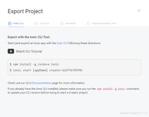 Exportando app - Ionic Creator